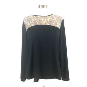 NWOT Loft Black lace blouse L